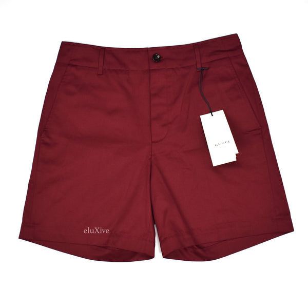 Gucci - Dark Red Cotton Shorts