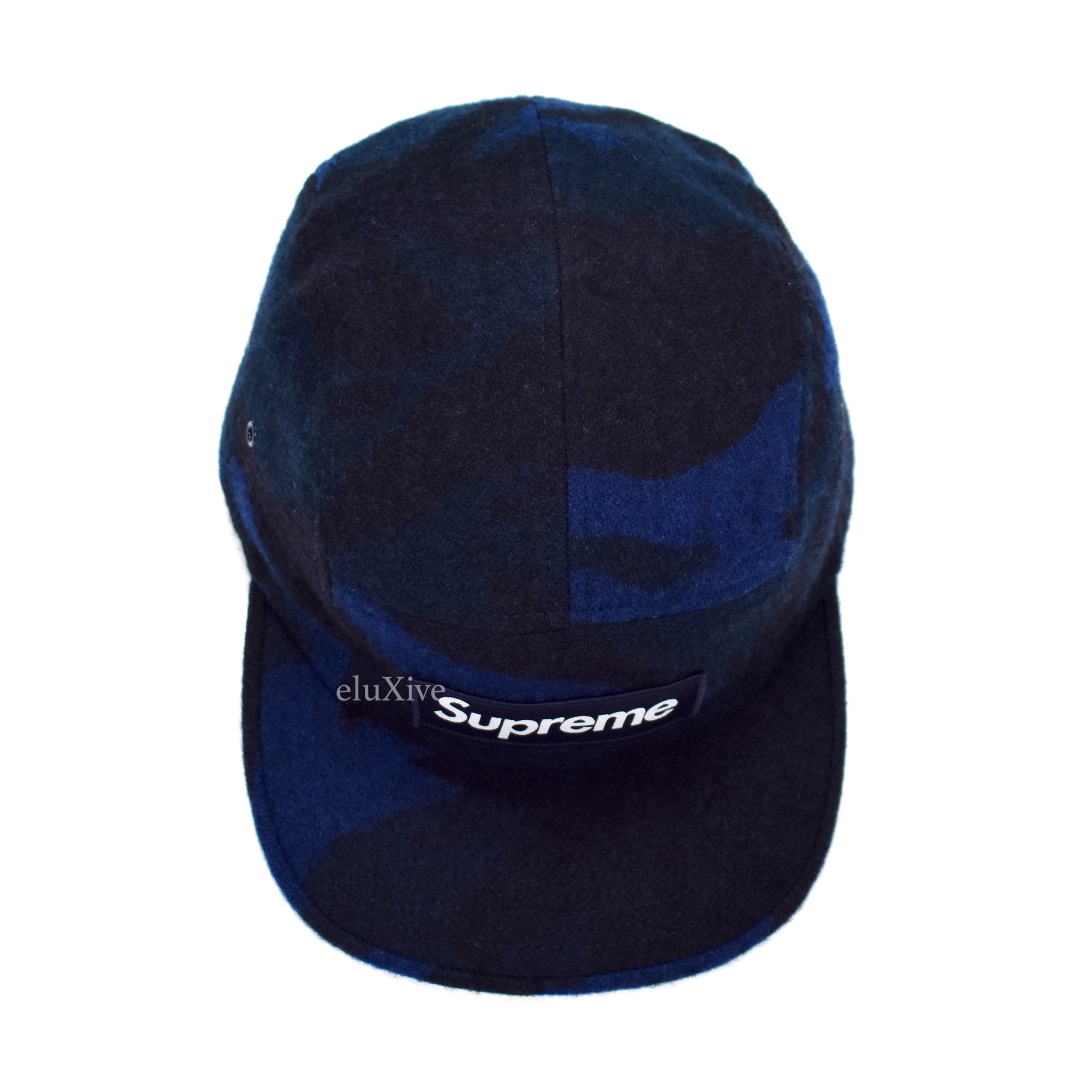 Supreme - Navy Camo Printed Wool Box Logo Camp Cap Hat – eluXive 028848d0fdef