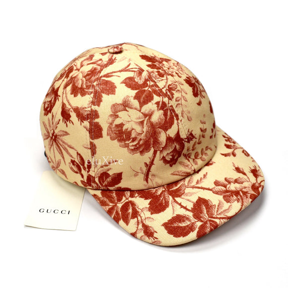 Gucci - Beige / Red Floral Print Hat