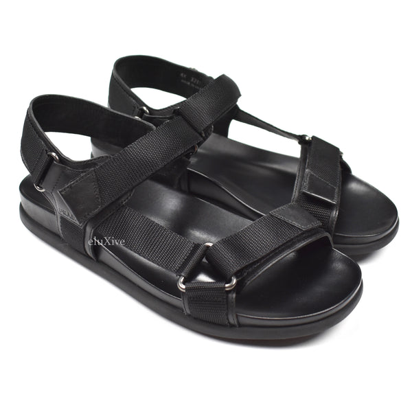Prada - Black Leather 'Teva' Sandals