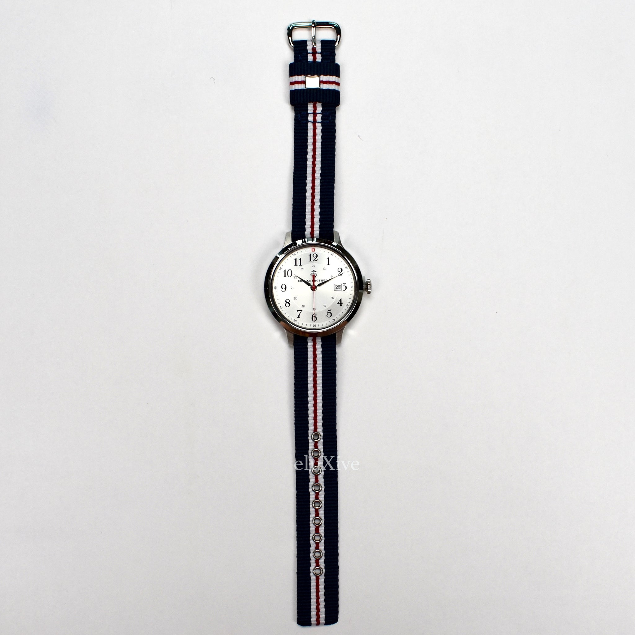 Brooks Brothers - Silver Dial Grosgrain Strap Watch