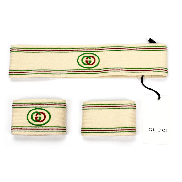 Gucci - Cream Vintage GG Logo Headband / Wristband Set
