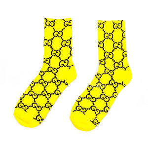 Imran Potato - Yellow/Black 'Gucci' Logo Knit Socks