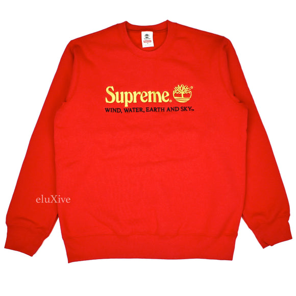 Supreme x Timberland - Red Logo Embroidered Sweatshirt