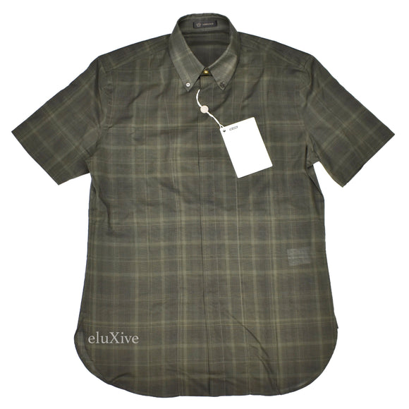 Versace - Olive Plaid Gold Medusa Button Shirt