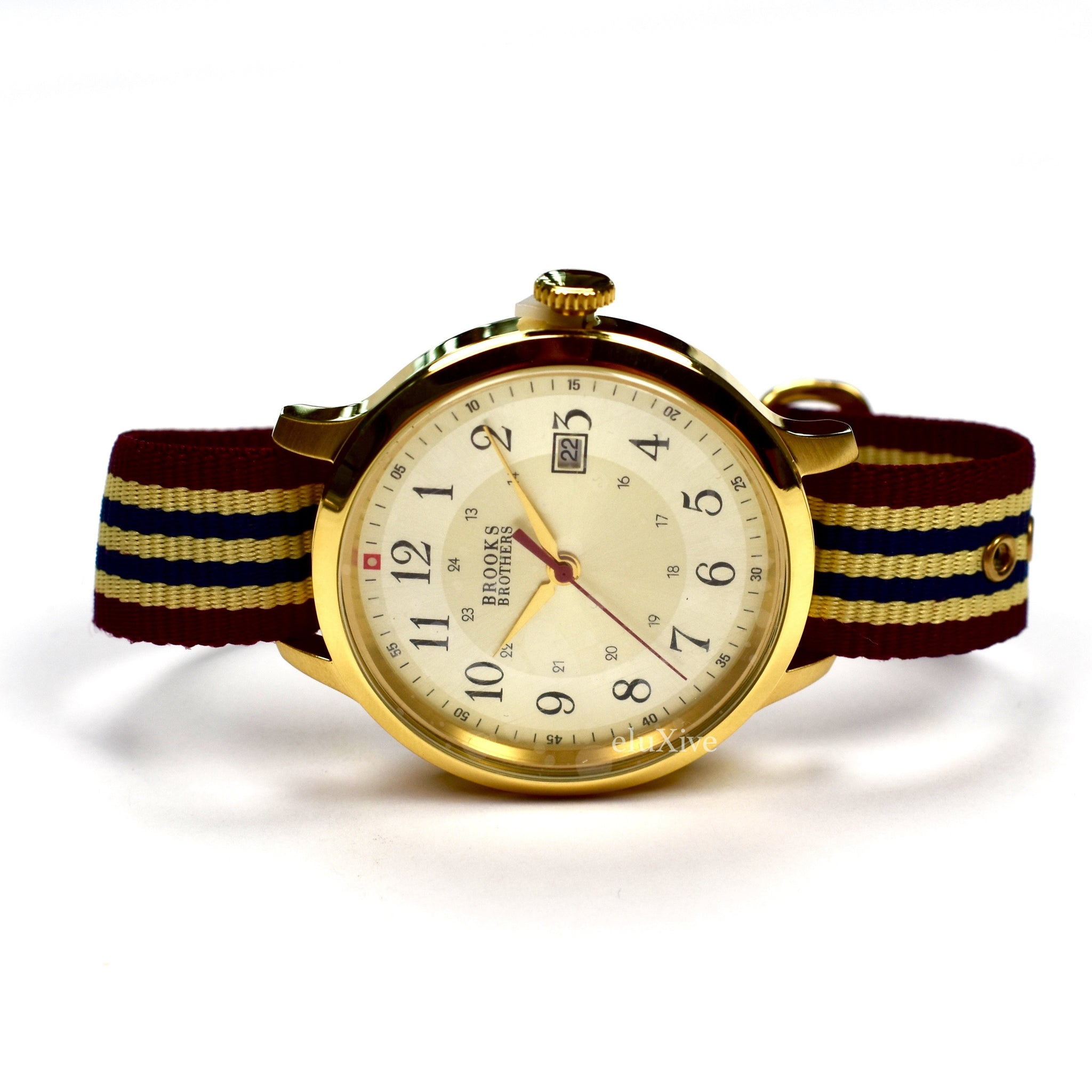 Brooks Brothers - Gold Grosgrain Strap Watch