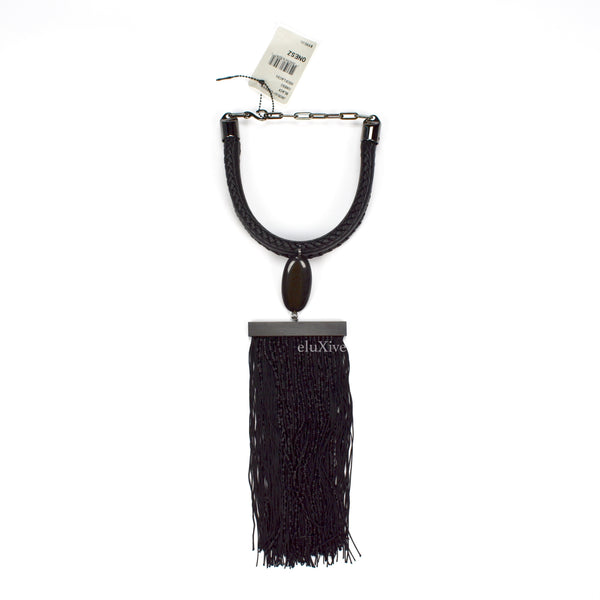 Tom Ford - Beaded Tassel & Leather Necklace