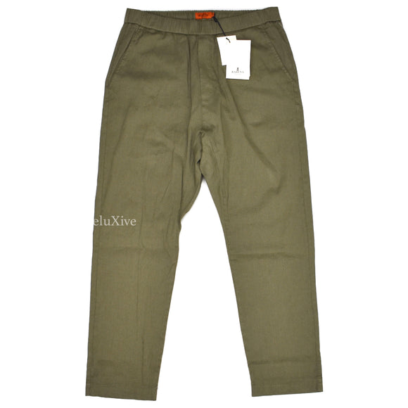 Barena - Olive Linen Stretch Waist Pants