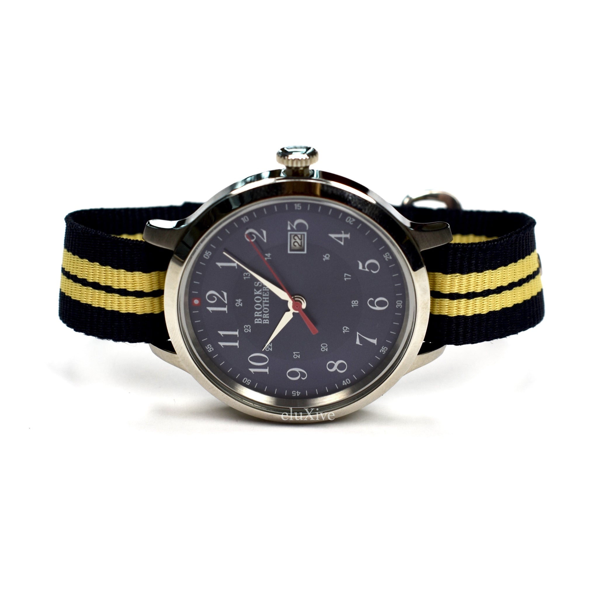 Brooks Brothers - Navy Dial Grosgrain Strap Watch