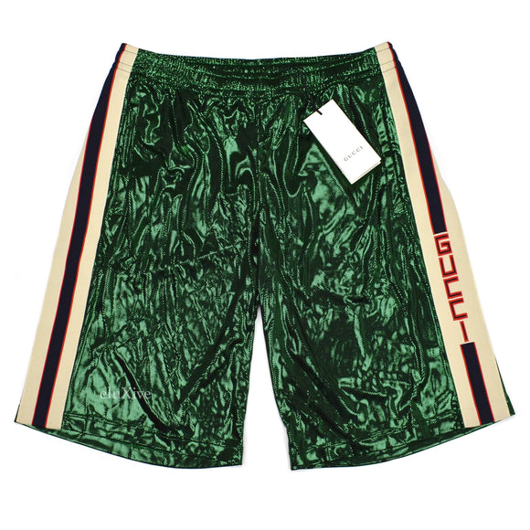 Gucci - Green Laminated Mesh Logo Stripe Basketball Shorts