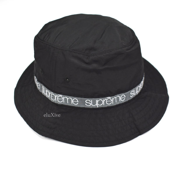 Supreme - Black Tonal Tape Logo Bucket Hat