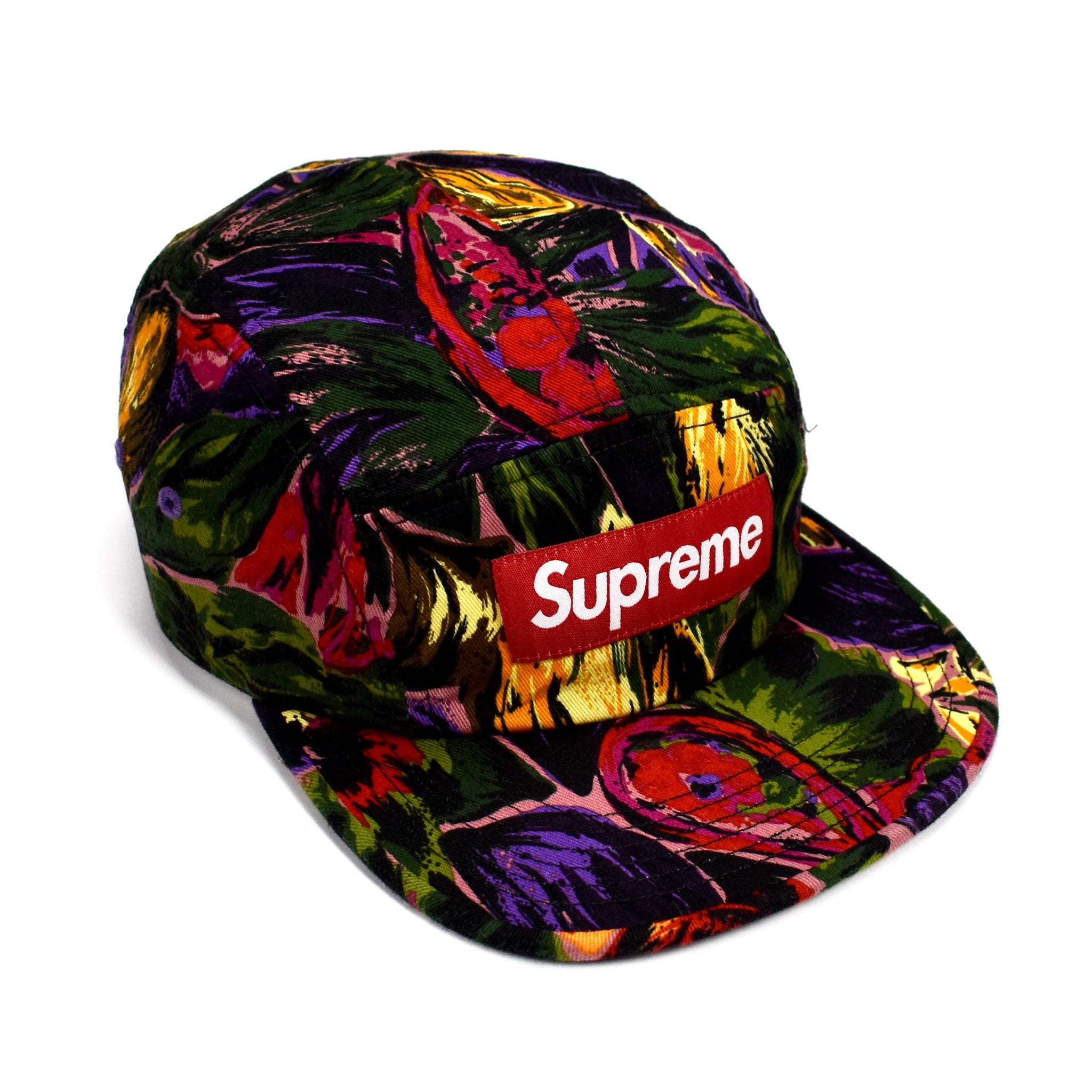 Supreme - Red Box Logo Painted Floral Print Camp Cap Hat – eluXive dc87a65da54