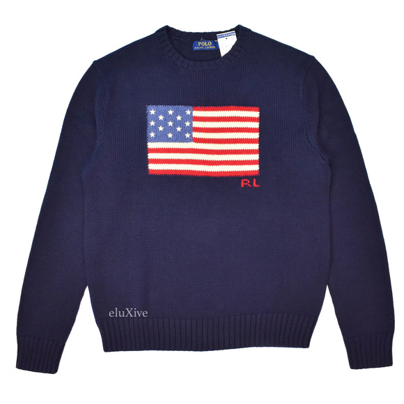 Polo Ralph Lauren - Navy American Flag Knit Sweater