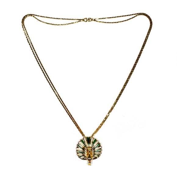 Dior - Gold Peacock Double Chain Necklace