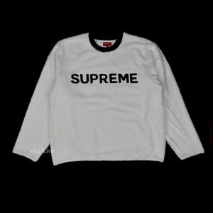 Supreme - White Terry Towel Logo Sweatshirt