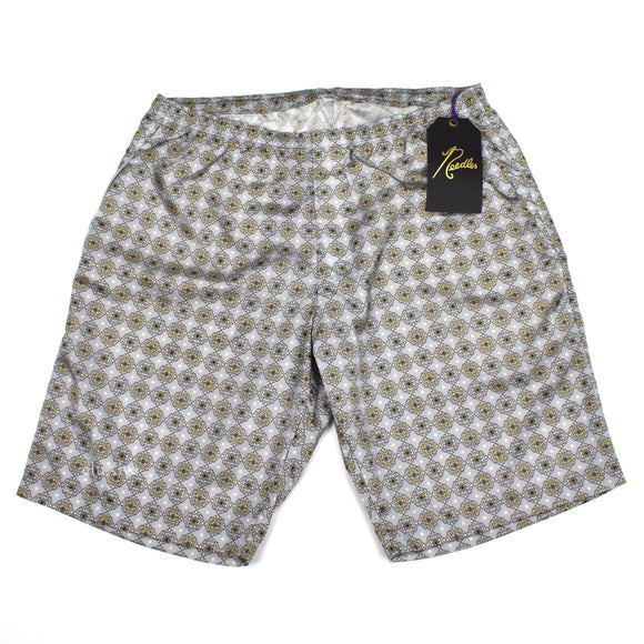 Needles - Gray Foulard Print Nylon Warm-Up Shorts