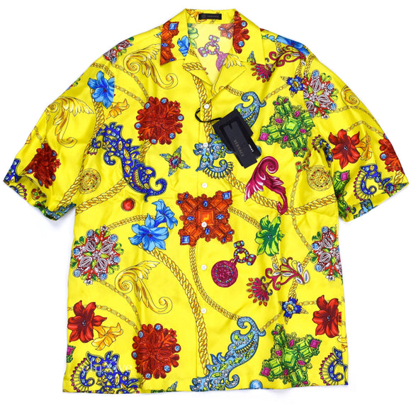 Versace - Yellow Medusa Logo Jewelry Print Silk Shirt