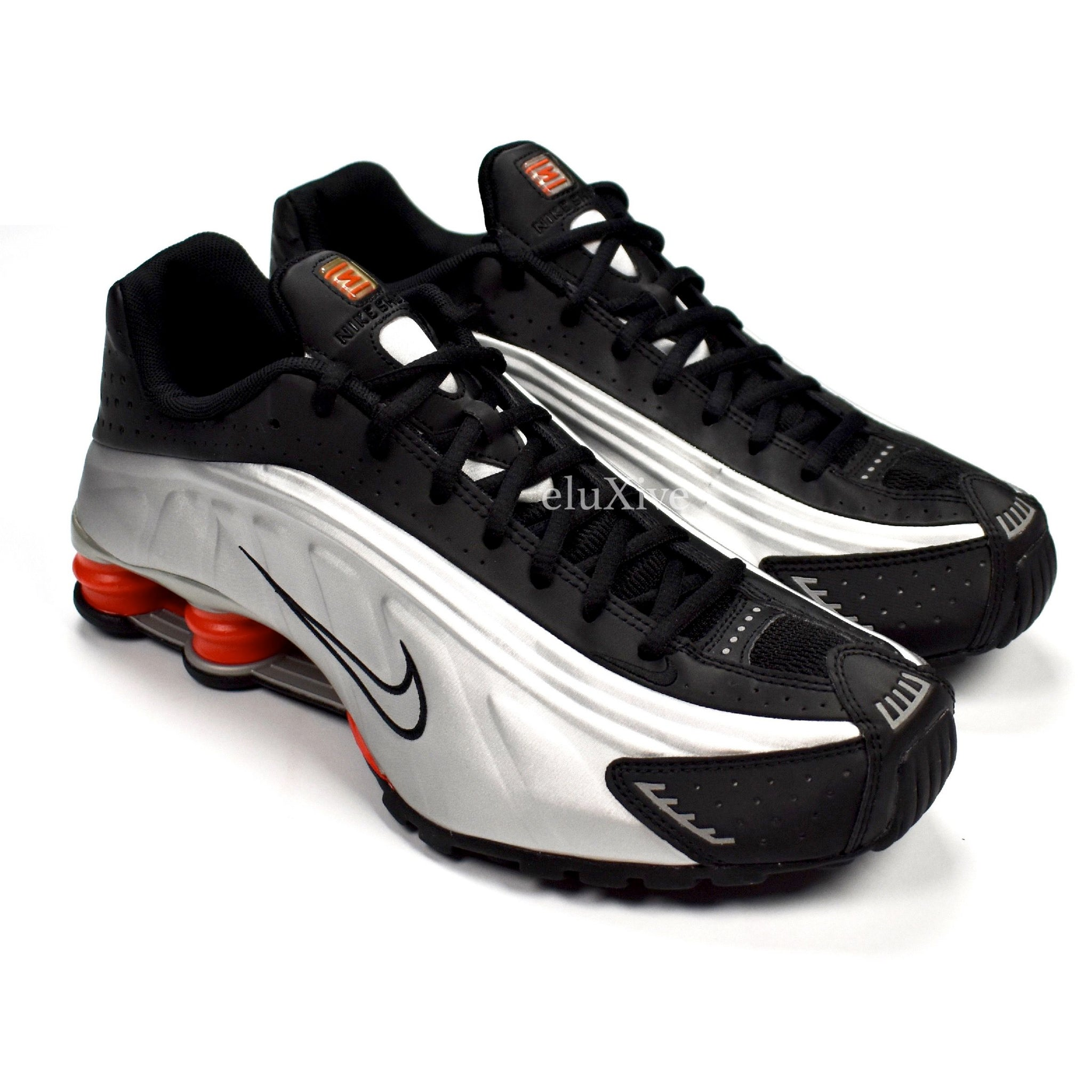 cae74cf2a81971 Nike - Men s Shox R4 OG Metallic Silver   Black   Orange Sneakers ...