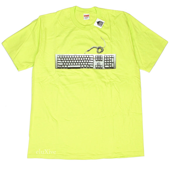 Supreme - Neon Green Keyboard Logo T-Shirt