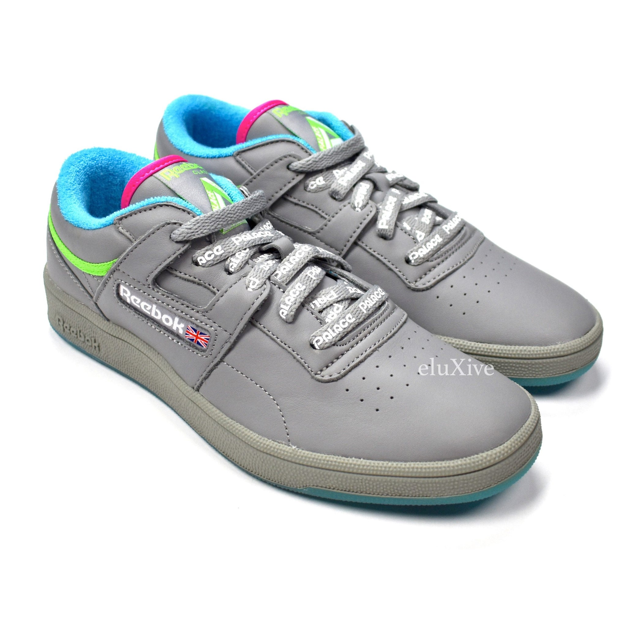 8fb41271adf6a1 Palace x Reebok - Gray Leather Club Workout Retro Logo Sneakers ...