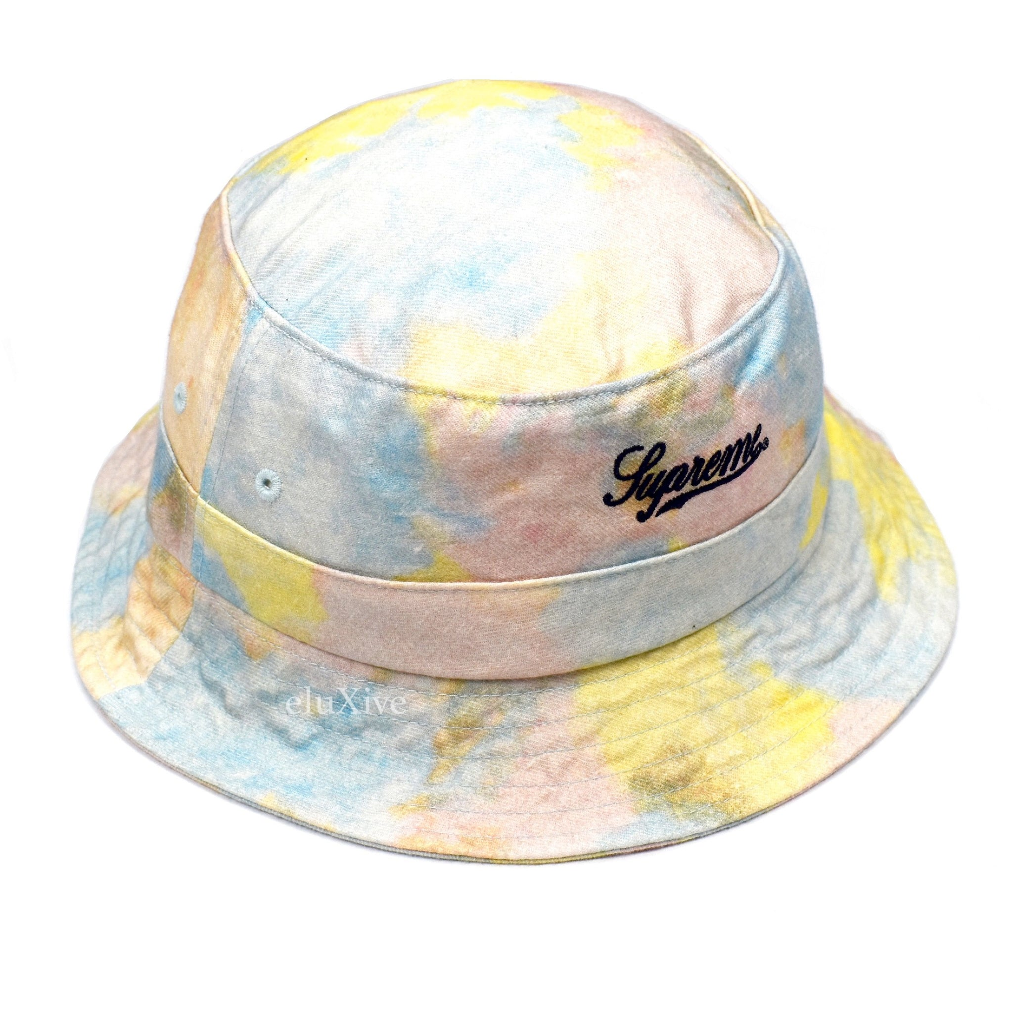 Supreme - Men s Multicolor Denim Tie Dye Crusher   Bucket Hat – eluXive 54489c00b55