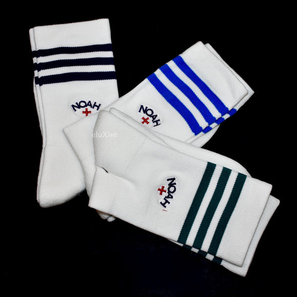 Noah x Adidas - White Core Logo 3-Stripe Socks (3-Pack)