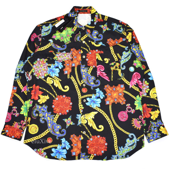 Versace - Black Medusa Logo Jewelry Print Denim Shirt