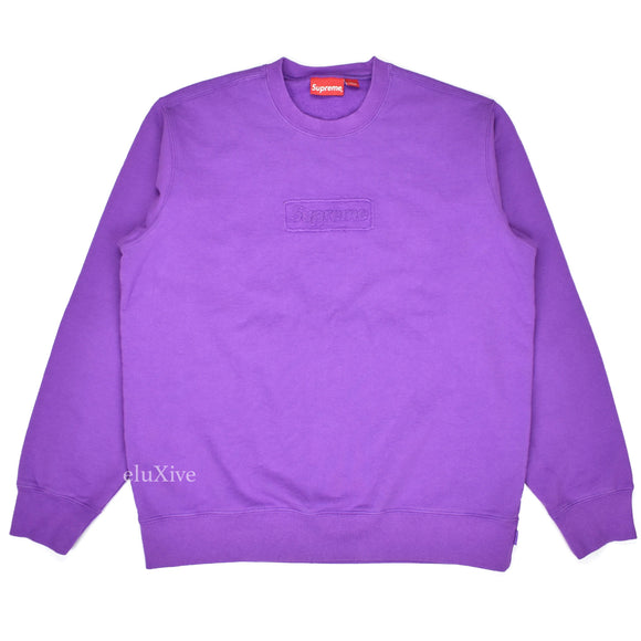 Supreme - Purple Cutout Box Logo Sweatshirt