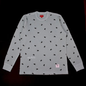 Supreme x Playboy - Blue Allover Logo Waffle Shirt