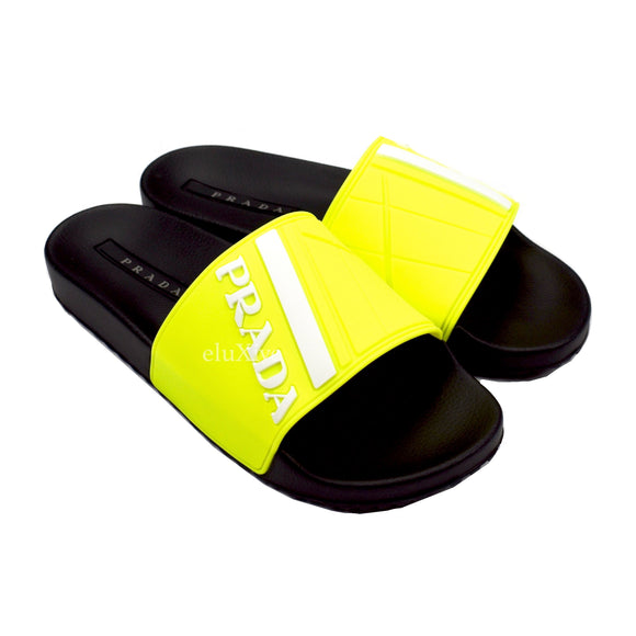 Prada - Black & Neon Yellow Logo Slides