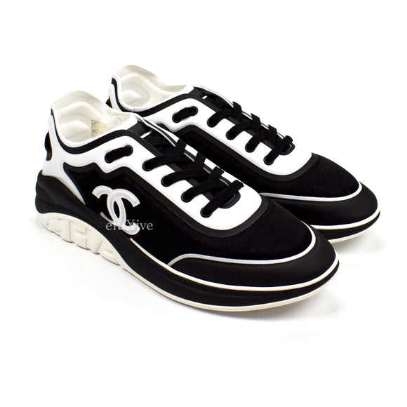 Chanel - Monogram Logo Runner Sneakers (Black/White)