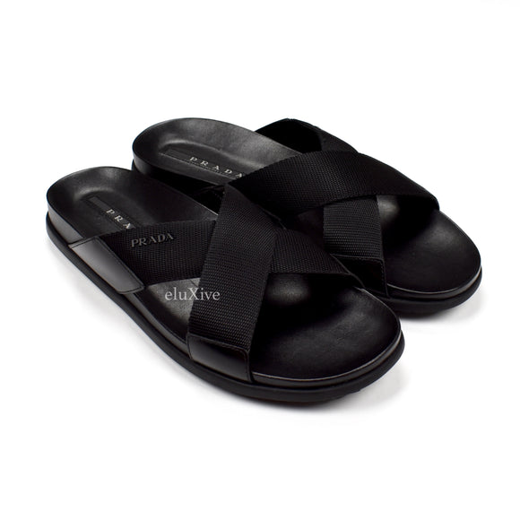 Prada - Black Leather Web Strap Sandals