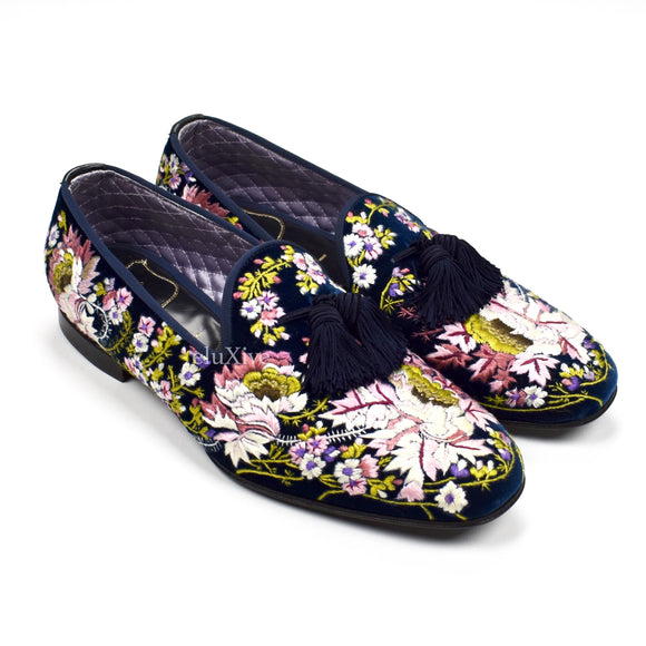 Tom Ford - Hand Embroidered Floral Velvet Loafers