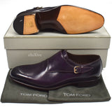 Tom Ford - Eggplant Purple Leather Monk Strap Shoes