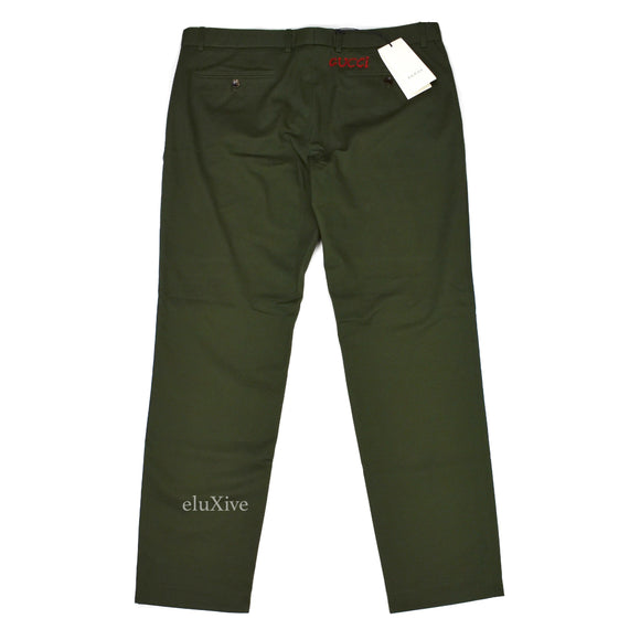 Gucci - Green Hand Embroidered Logo Twill Pants