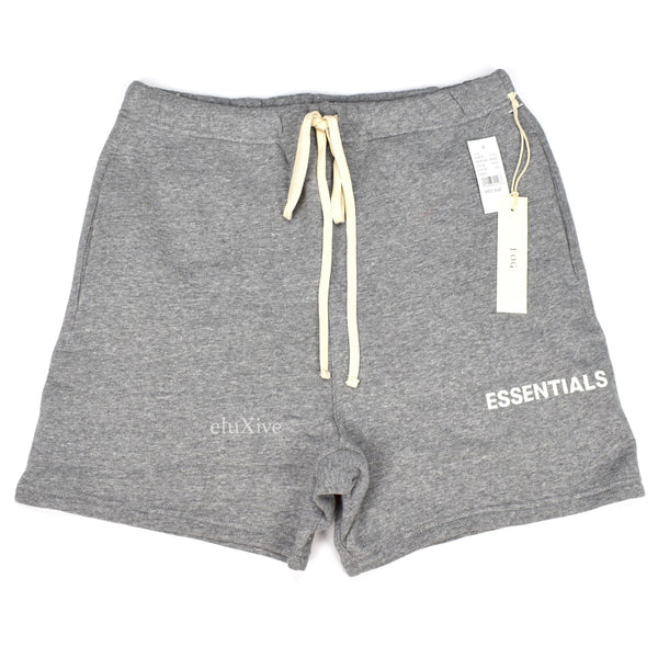 Fear of God - Essentials Gray Fleece Logo Shorts