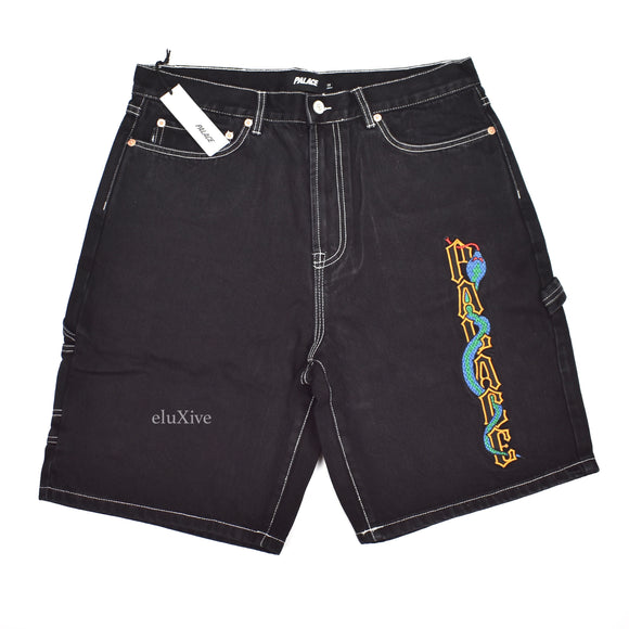 Palace - Snake Logo Embroidered 'Sphesh' Denim Shorts (Black)