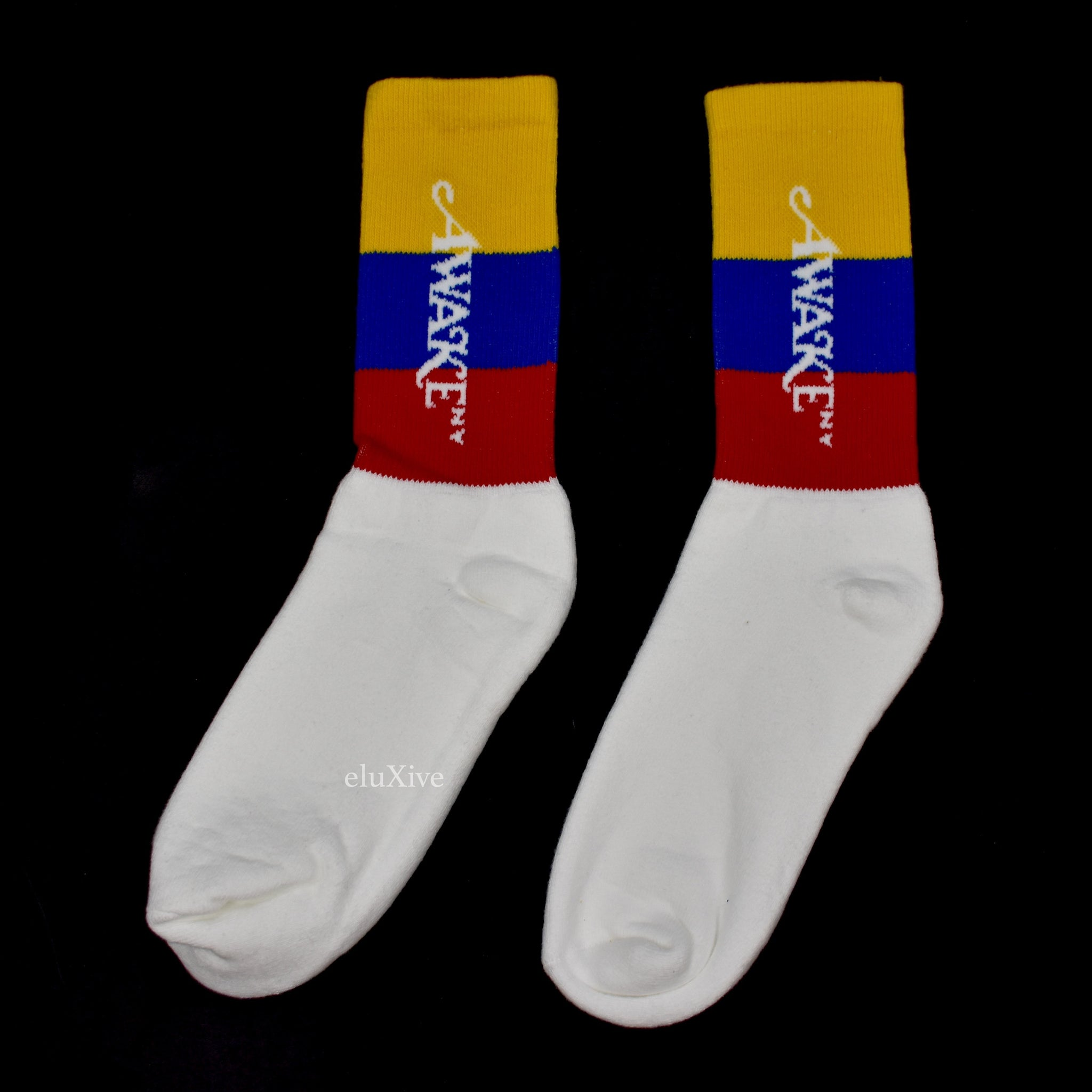 Awake NY - Red / Blue / Yellow Stripe Logo Socks