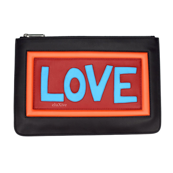 Fendi - Leather 'Love' Logo Clutch