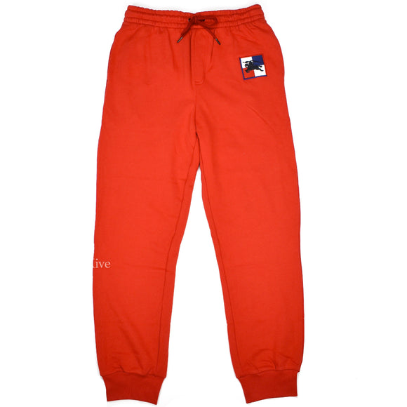 Burberry - Red Logo Embroidered Jogger Pants