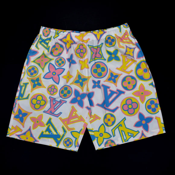 Imran Potato - White LV Logo 'Fancy' Shorts