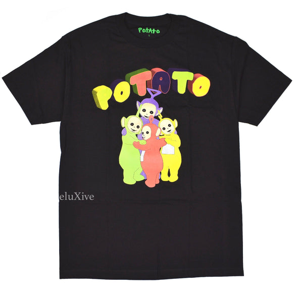 Imran Potato - Black 'Teletubbies' Tubby Logo T-Shirt