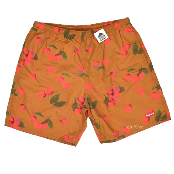 Supreme - Brown Cherry Print Box Logo Swim Shorts