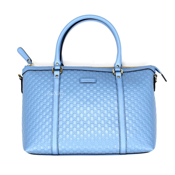 Gucci - Light Blue Guccissima Logo Satchel Bag