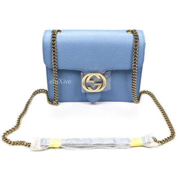 Gucci - Light Blue GG Buckle Chain Strap Bag