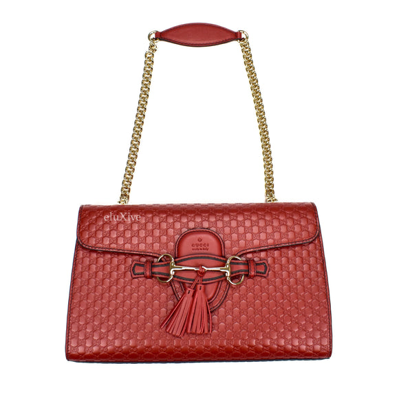 Gucci - Red Guccissima Logo Horsebit 'Emily' Bag