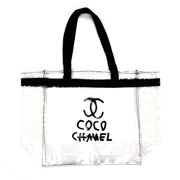 Mega Yacht - Clear 'Coco Chanel' Logo Tote Bag