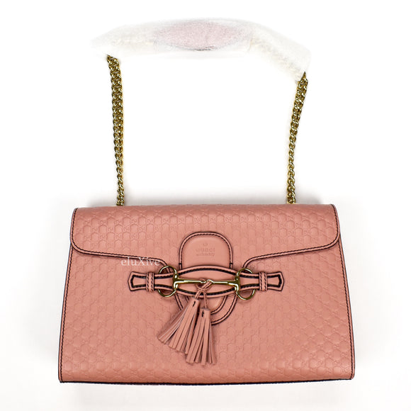 Gucci - Blush Pink Guccissima Logo Horsebit 'Emily' Bag