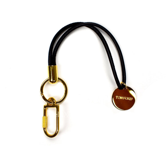 Tom Ford - Gold Logo Charm Leather Keychain