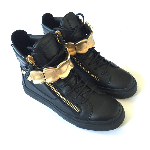 Giuseppe Zanotti - Black Leather Gold Plate Sneakers
